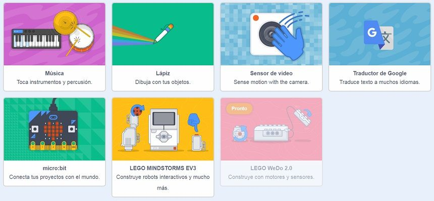 Scratch 3.0 extensiones